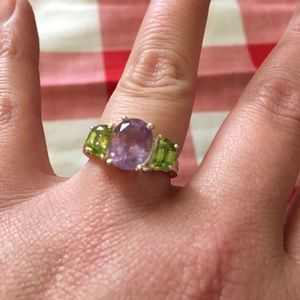 Sterling silver genuine amethyst and peridot ring